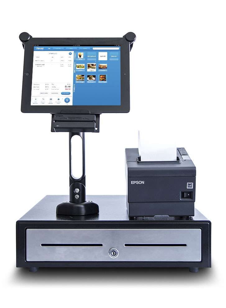 Tab with Revel POS, card swiper and receipt printer