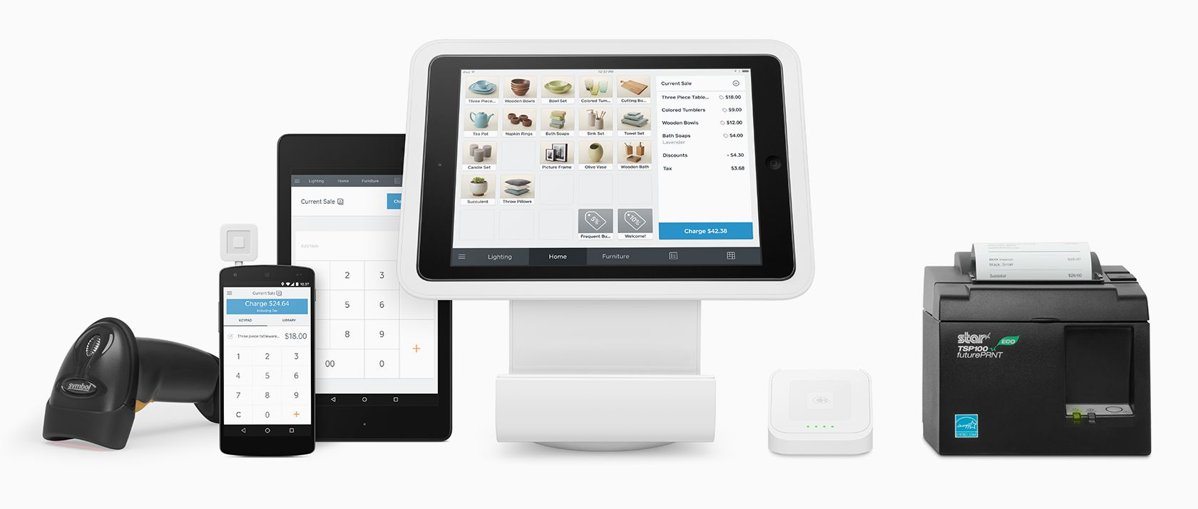 Tabs and Phones with Square POS and receipt printer
