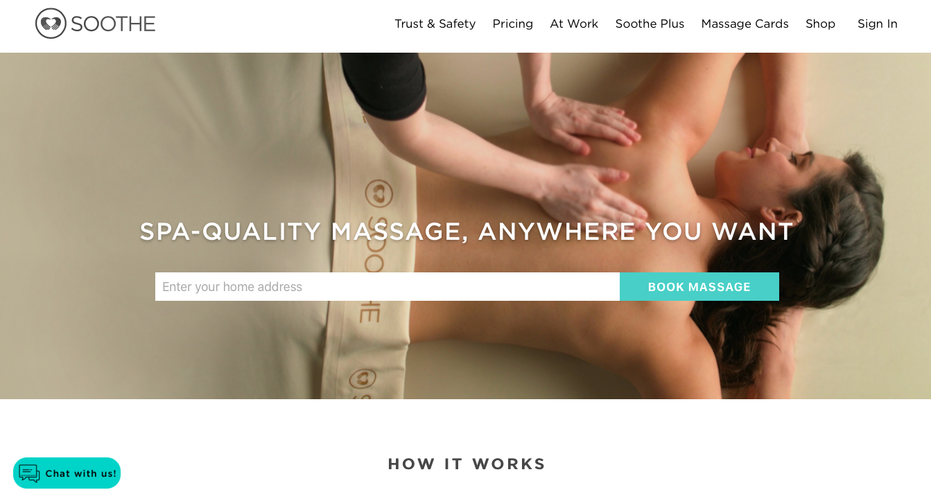 Landing Page of Soothe