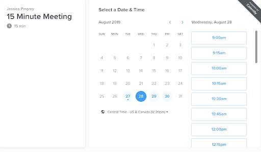 Calendly meeting scheduler interface