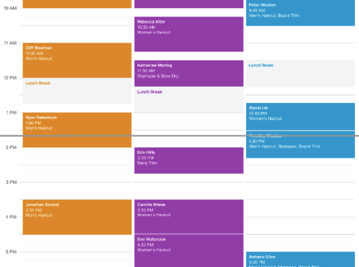 Square appointments calendar interface