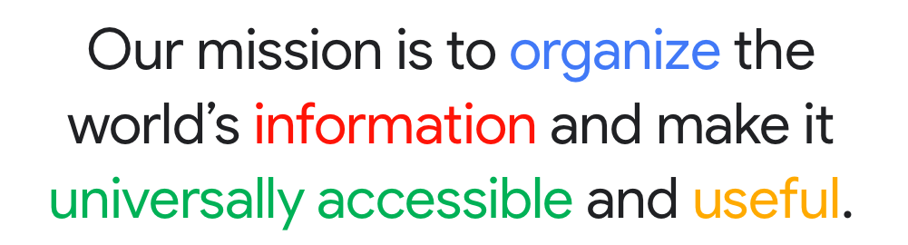 Updated mission statement of Google in 2014