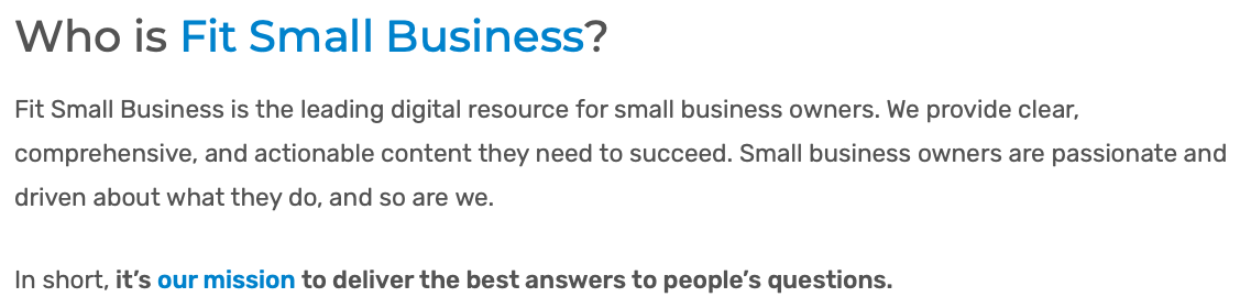 Fit Small Business mission statement