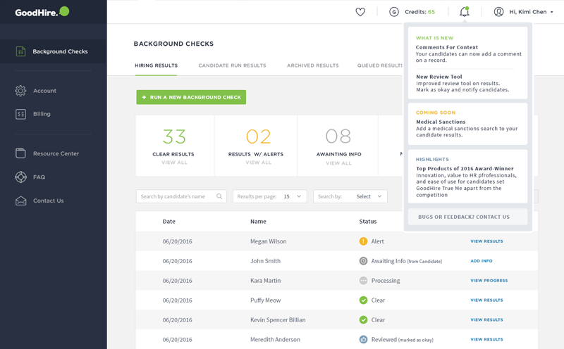 Goodhire Background Check Dashboard