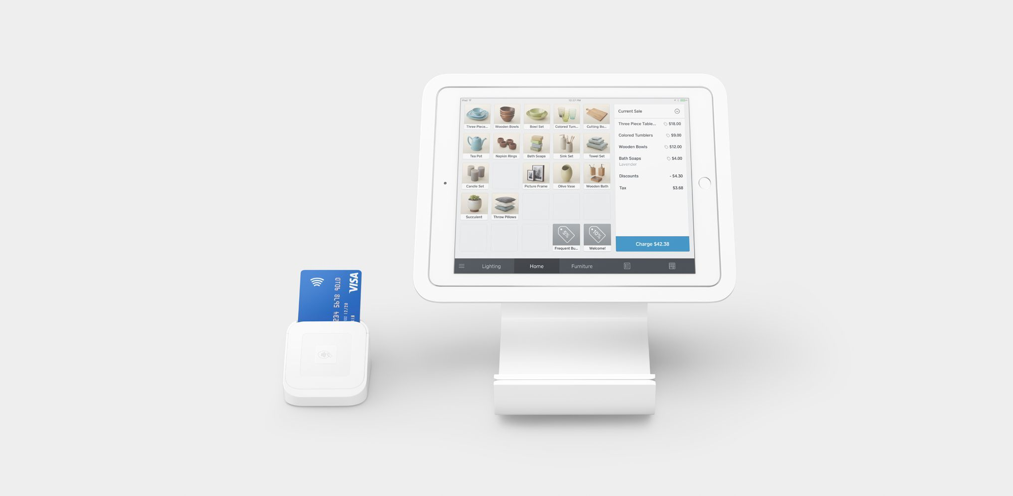 Tablet with Square POS and Credit Card Reader