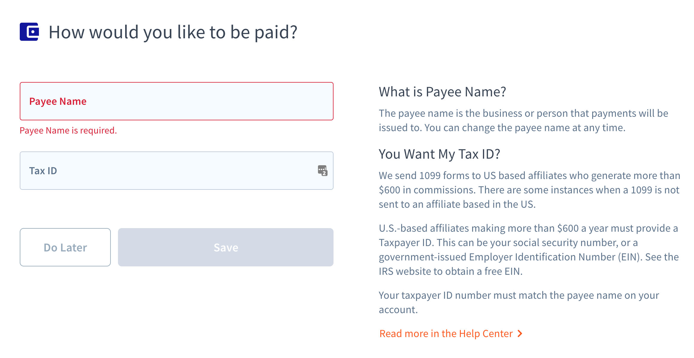 Payee name textfield and Tax ID field