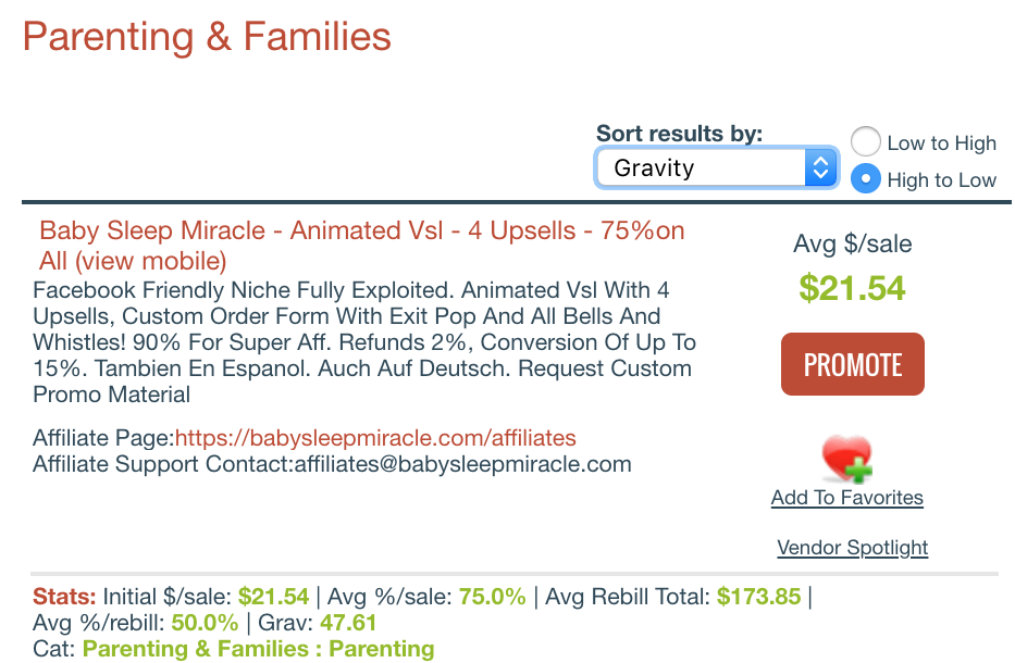 Products under Parenting and Families category