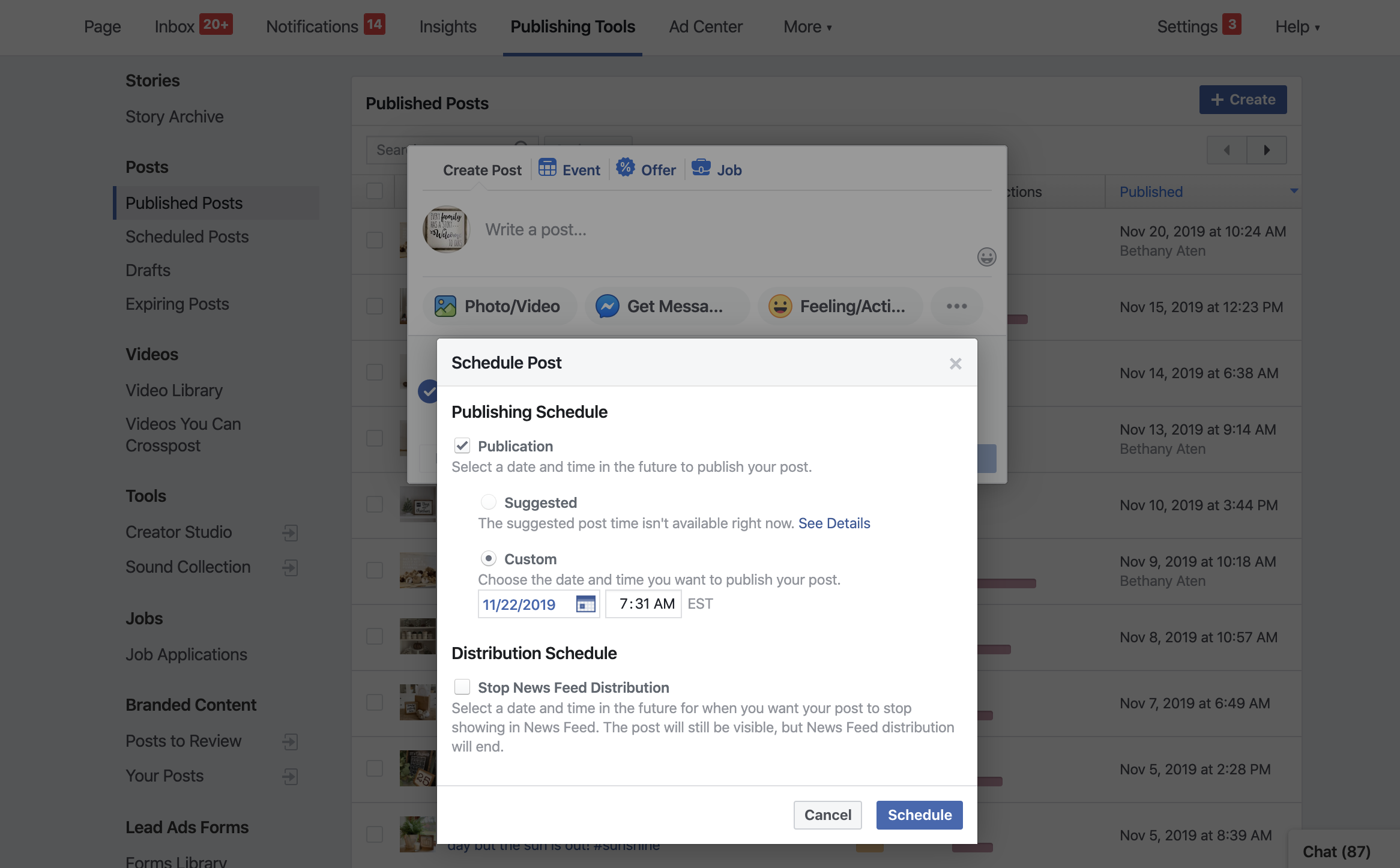 Facebook's scheduler tool interface