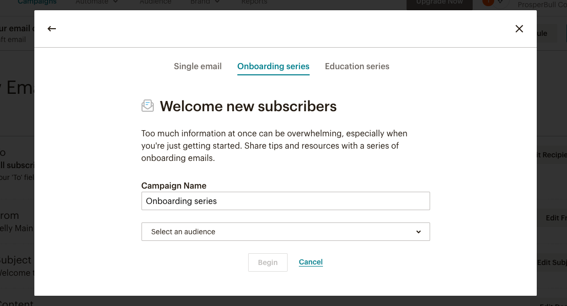 New Subscriber Email Campaign in MailChimp