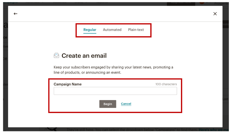 Setting a Email Campaign-Type and a Campaign Name in MailChimp