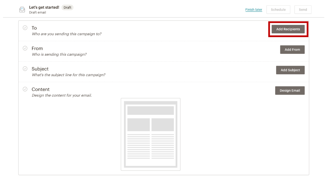 MailChimp's interface in adding Recipients to Campaign