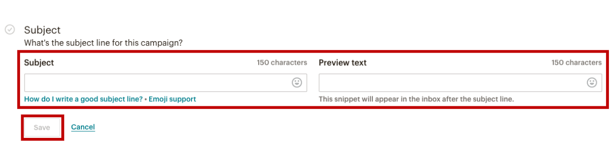 Adding a Subject Line to MailChimp Campaign interface