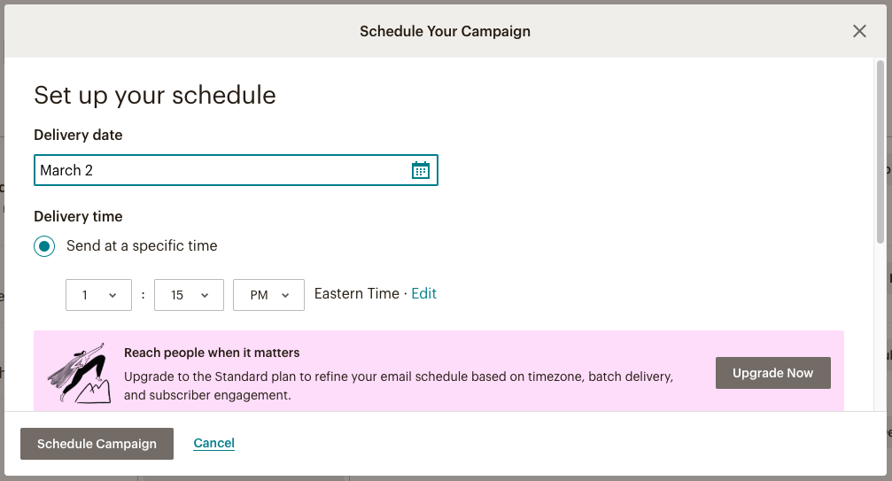 Setting-up schedule for MailChimp Email Campaign interface
