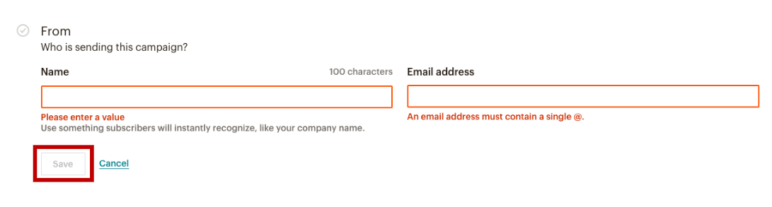Setting up Sender Info for MailChimp Campaign