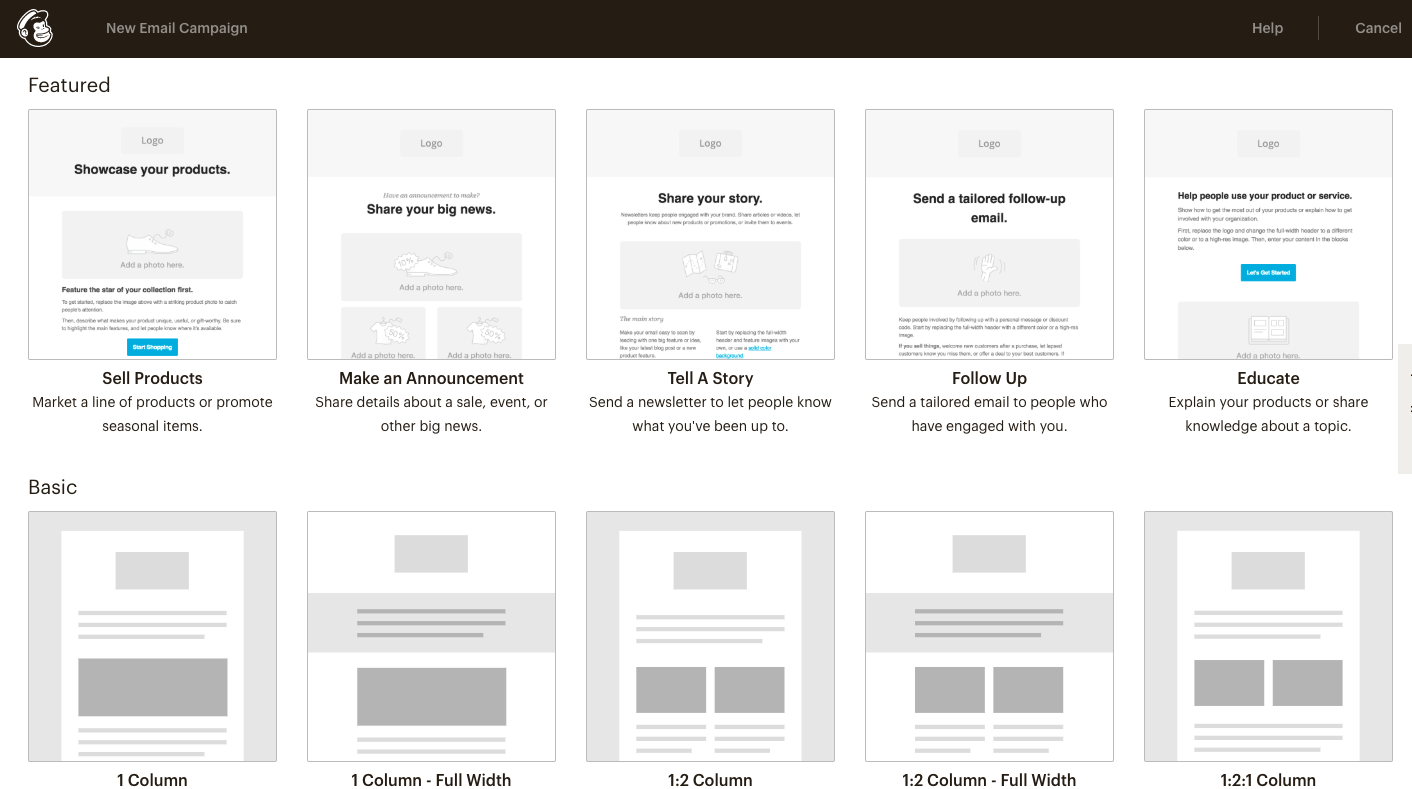 Selecting MailChimp Email Templates interface