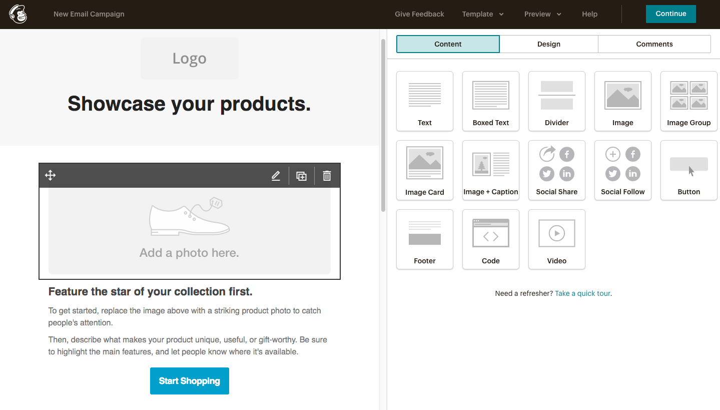 Mailchimp Email Editing Interface