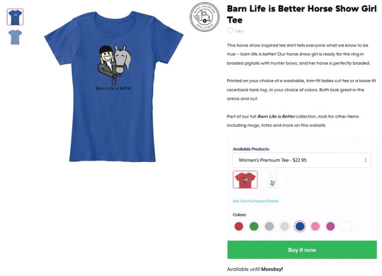 Example of Teespring's product page