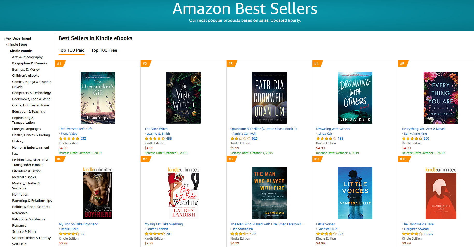 amazon best sellers in kindle ebooks