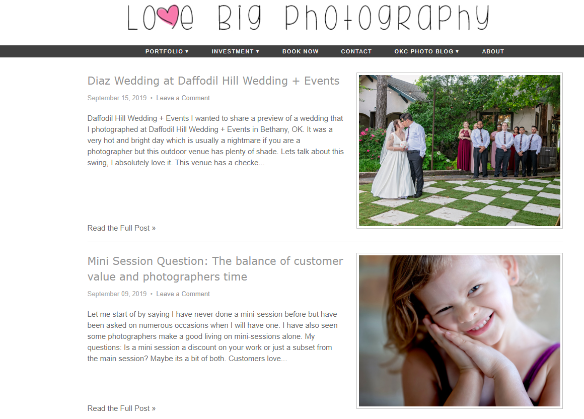 Love Big Photography uses its blog to showcase its photography services and offer photography tips
