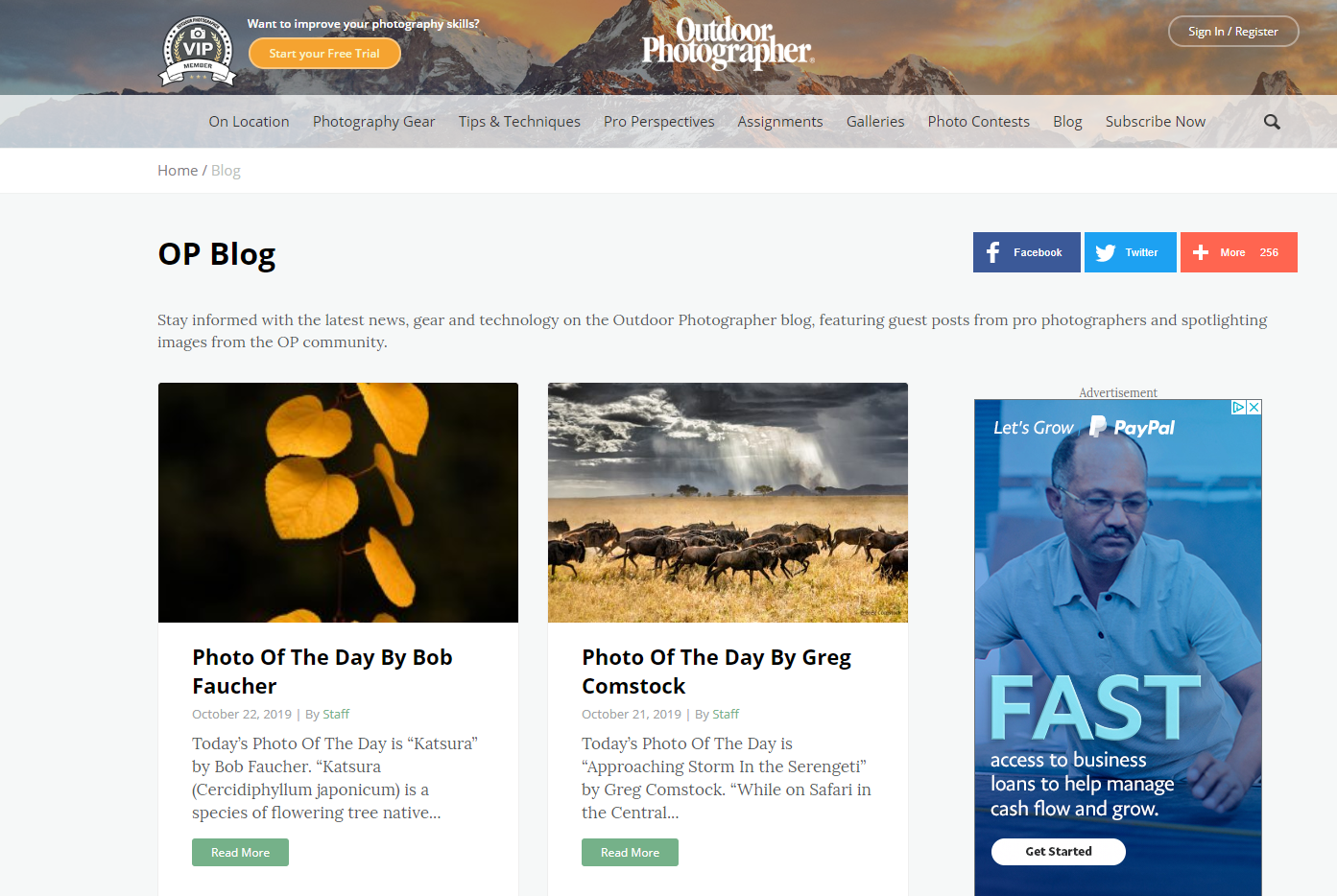 The Outdoor Photographer blog uses Google AdSense ads to help monetize its blog