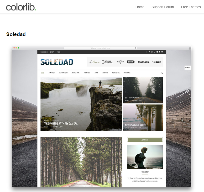 The Soledad WordPress theme from Colorlib is popular with photography bloggers