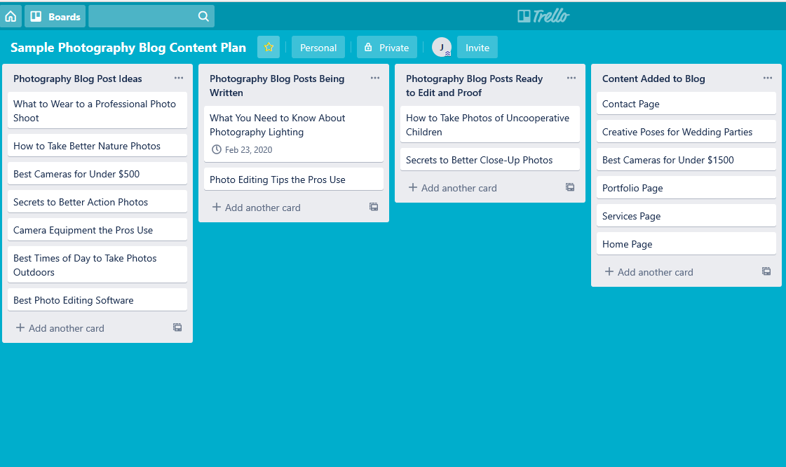 Sample Photography Blog Content Plan created on Trello