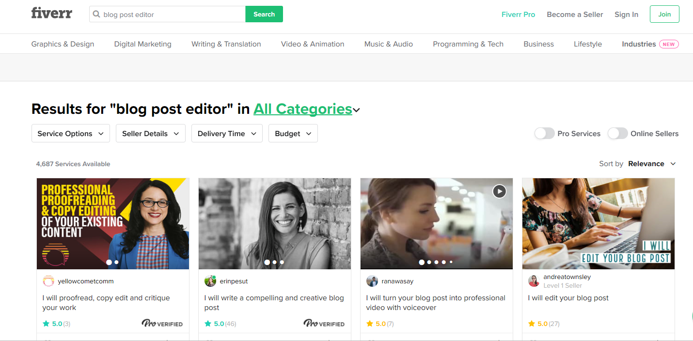 Find blog editors, proofreaders, and writers on Fiverr