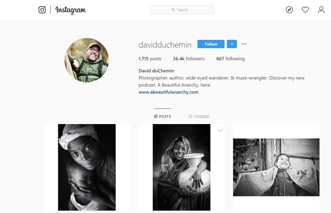 Photographer and author David duChemin uses Instagram to promote his photography blog