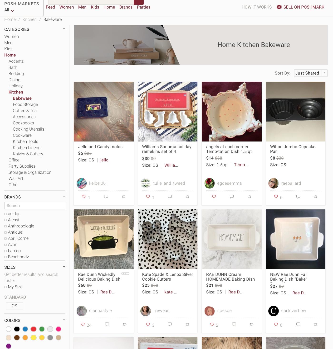 Posh Maarkets website dashboard