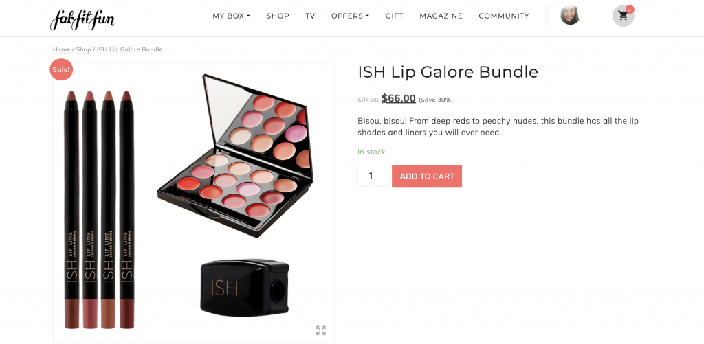 example of a bundle deal on makeup items offered by FabFitFun