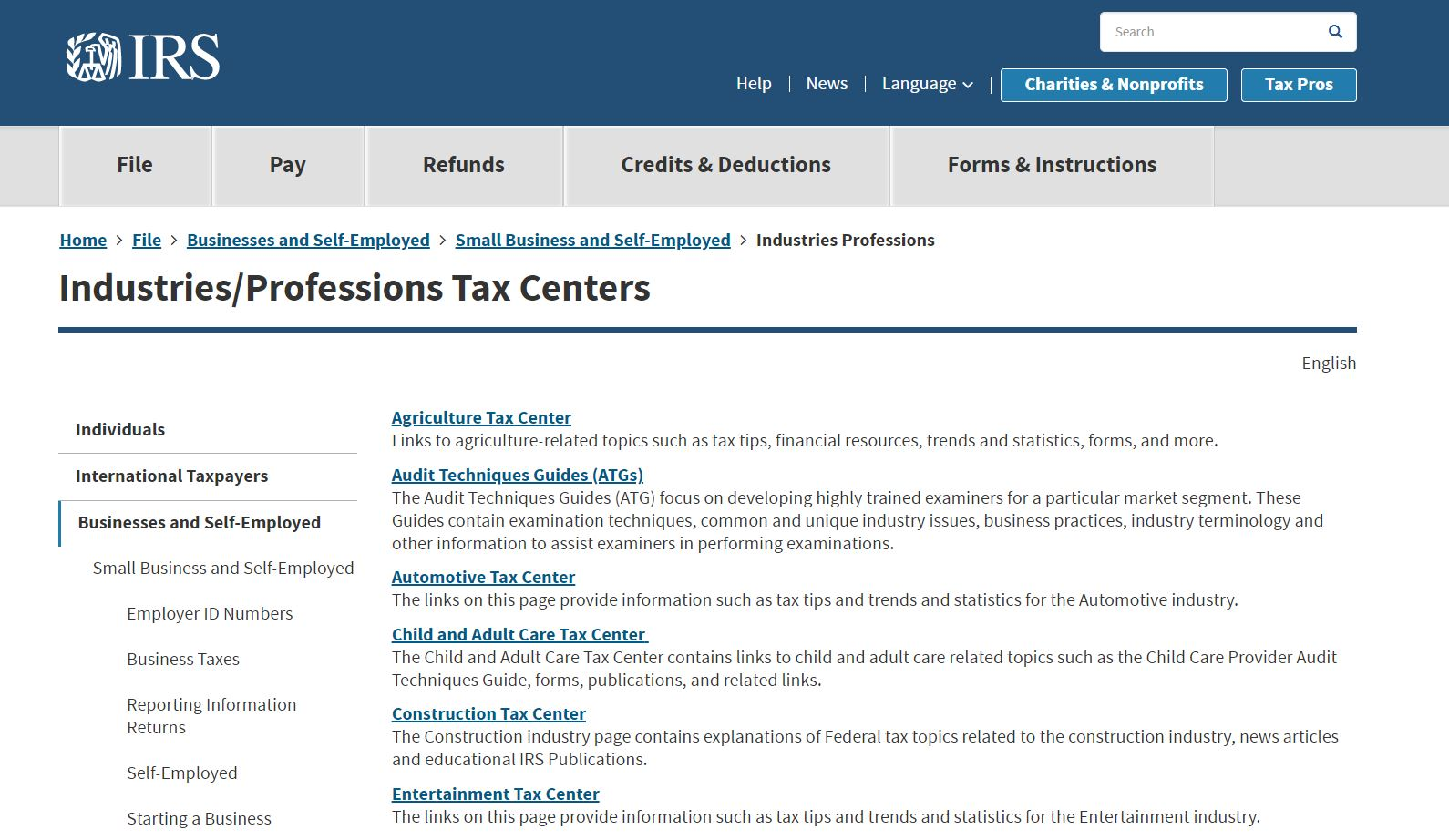 IRS Industries/Professions Tax Centers page