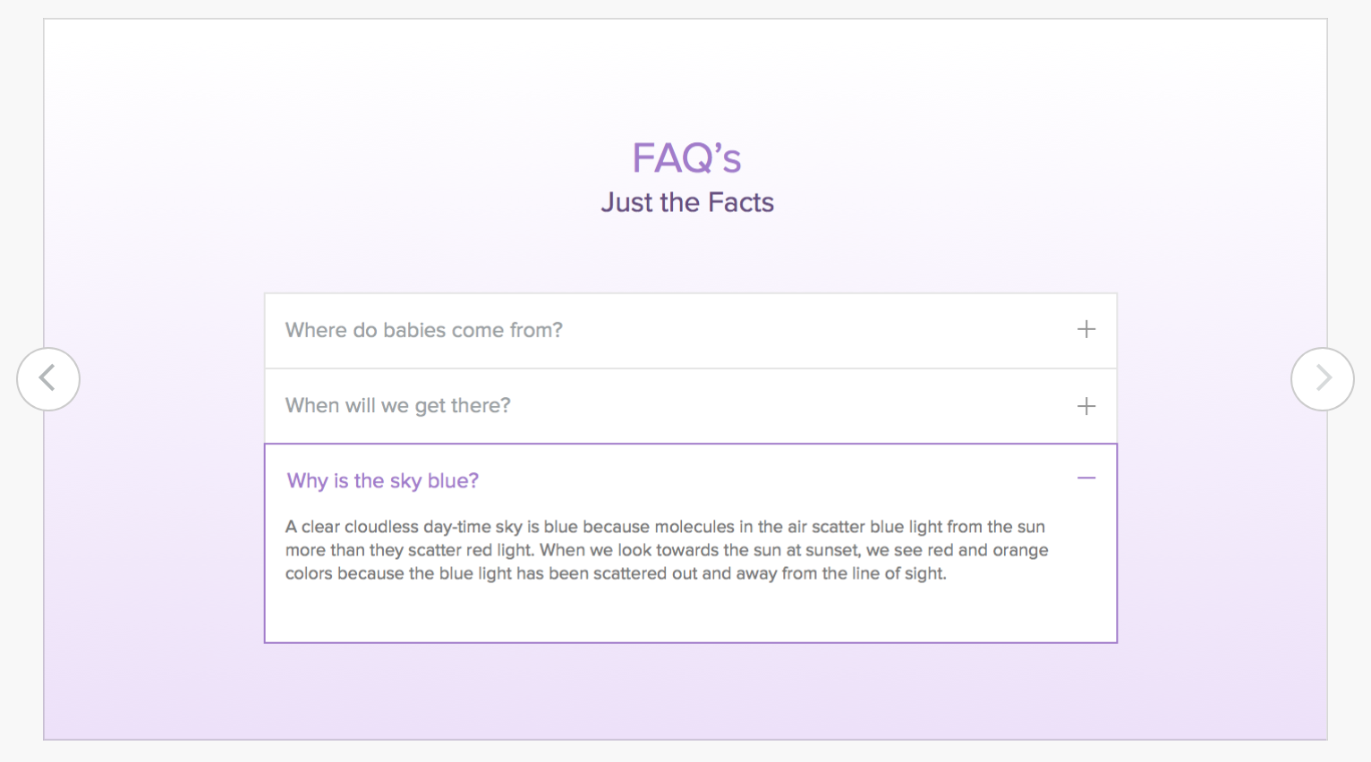 weebly store - FAQ feature