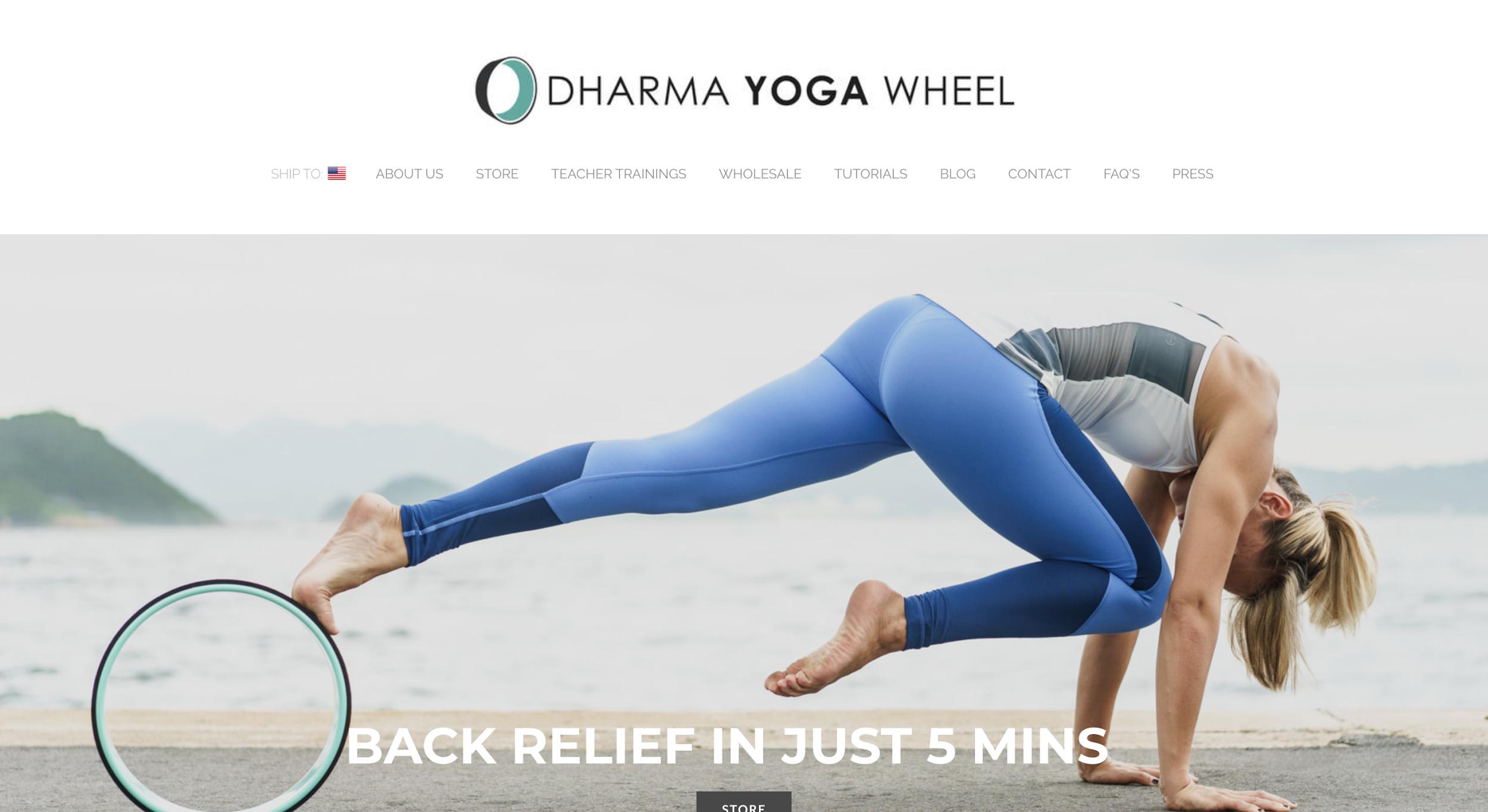 Dharma Yoga Wheel - example of ecommerce store design