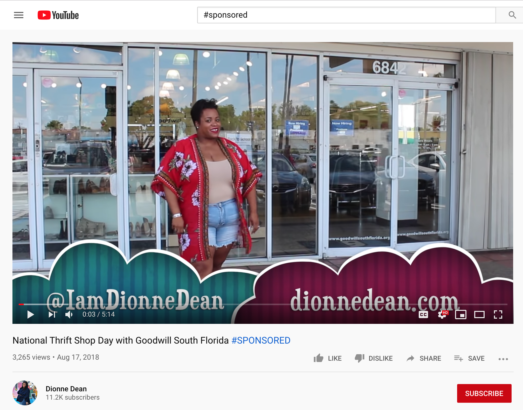 An example of a sponsored video collaboration between Dionne Dean and Goodwill - YouTube platform