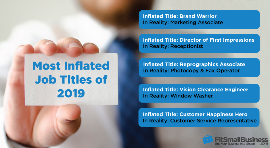 list of the most inflated job titles ranked by Fit Small Business