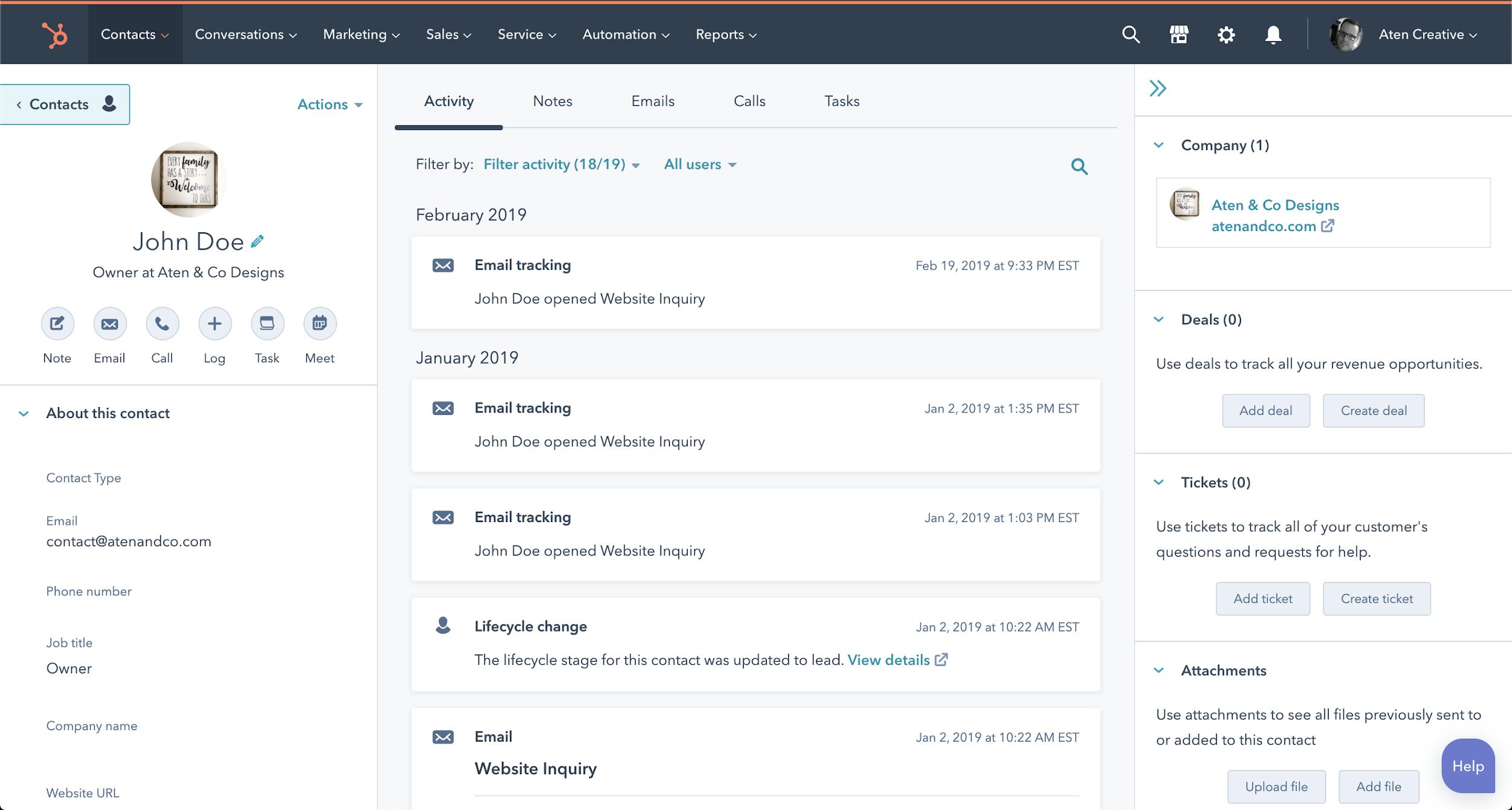 HubSpot CRM lead profiles