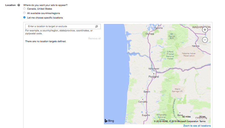 Microsoft Advertising location targeting - map image