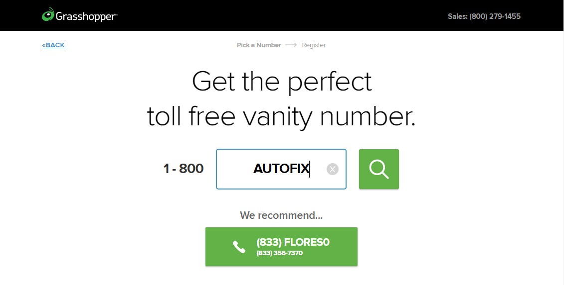 grasshopper phone number choosing screen