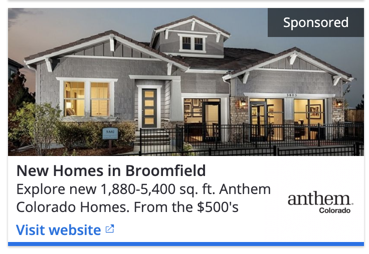 example of a developer ad in Zillow - illustrates exterior design of a house