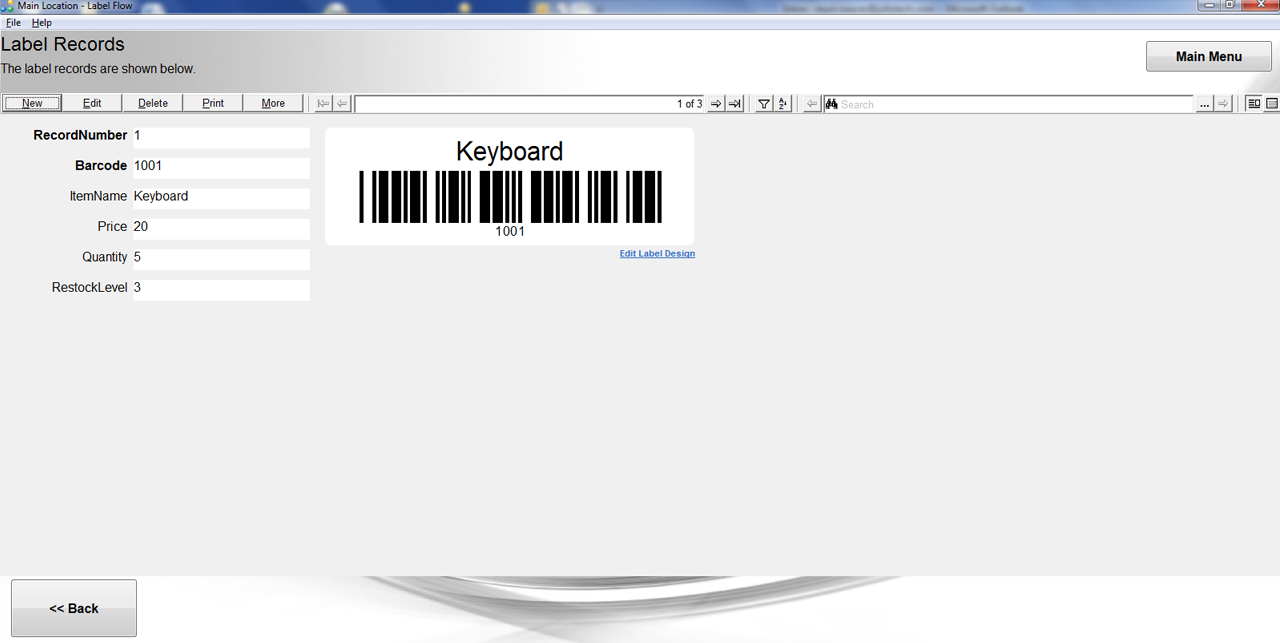 Label flow software generates barcodes