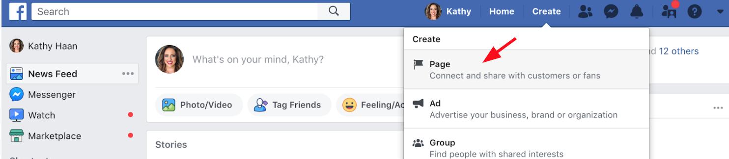 Página de negócios do Facebook