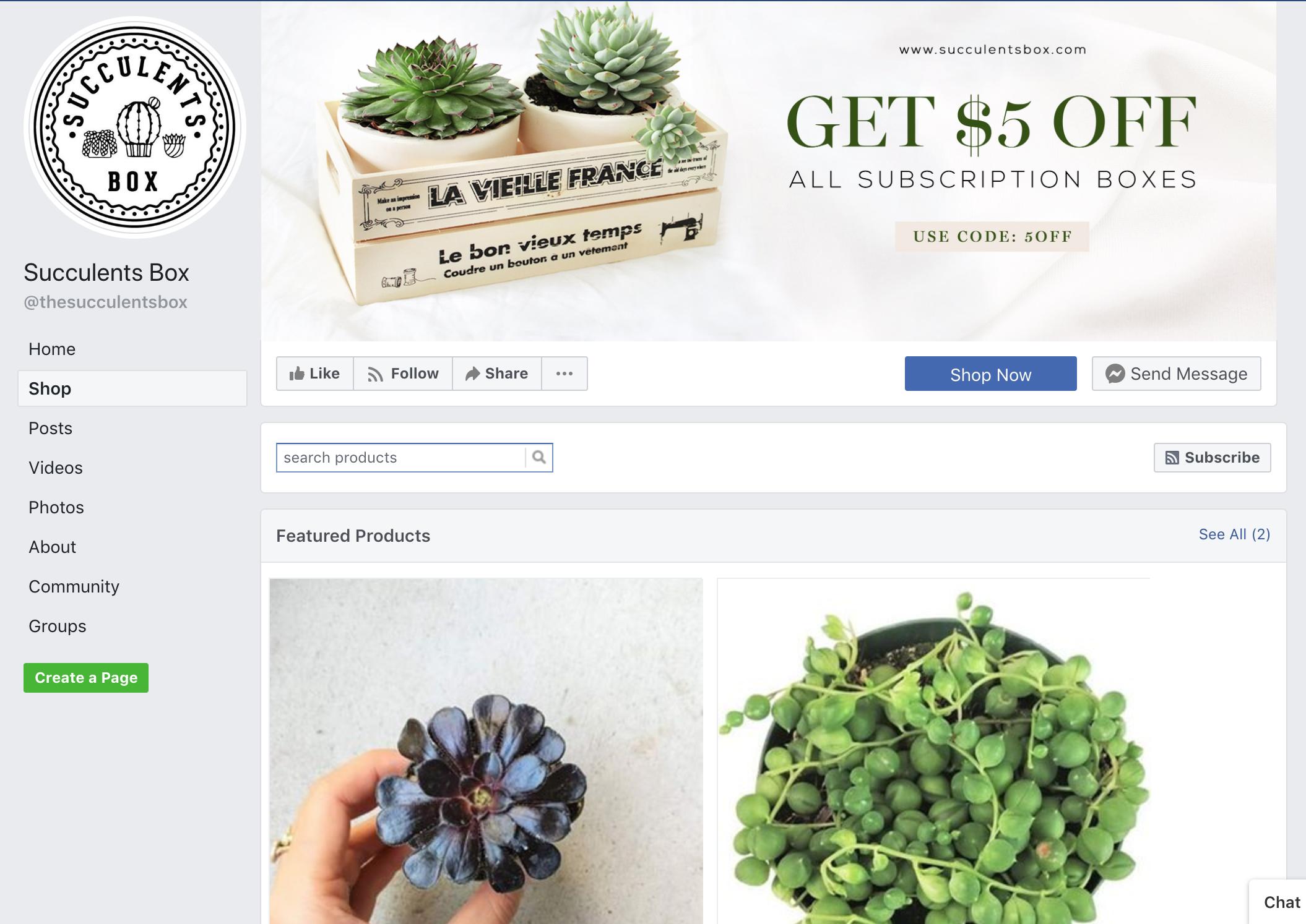 Loja de Succulents Box no Facebook