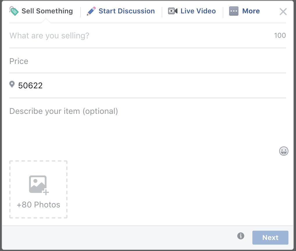 adicionando fotos a uma postagem do Facebook
