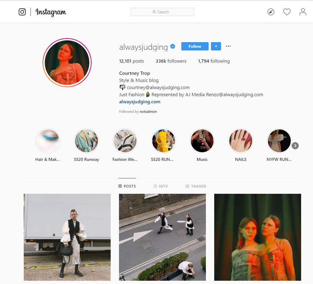 Instagram profile interface
