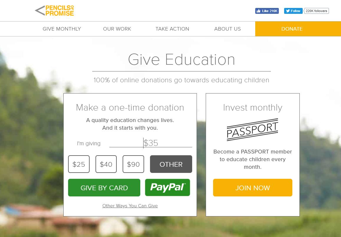 Pencils Promise Website