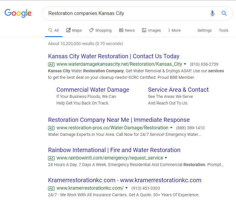 Google Search Result of Restoration Companies Kansas City