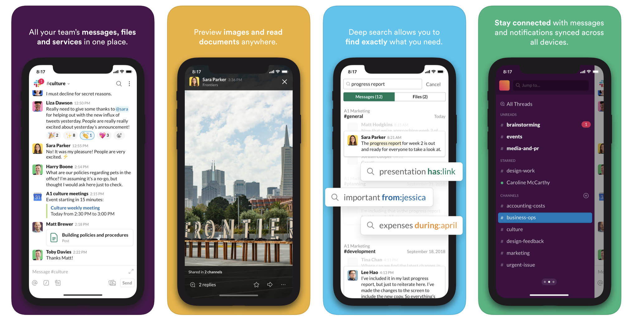 Slack mobile interface