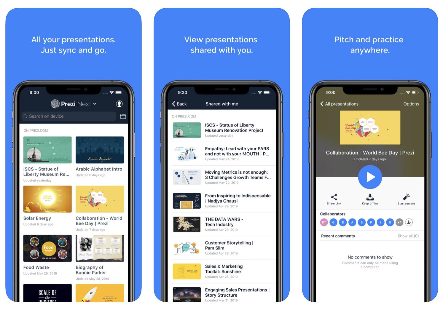 Prezi mobile app interface