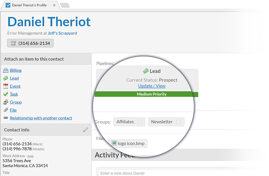 Screenshot of Less Annoying CRM Contacts