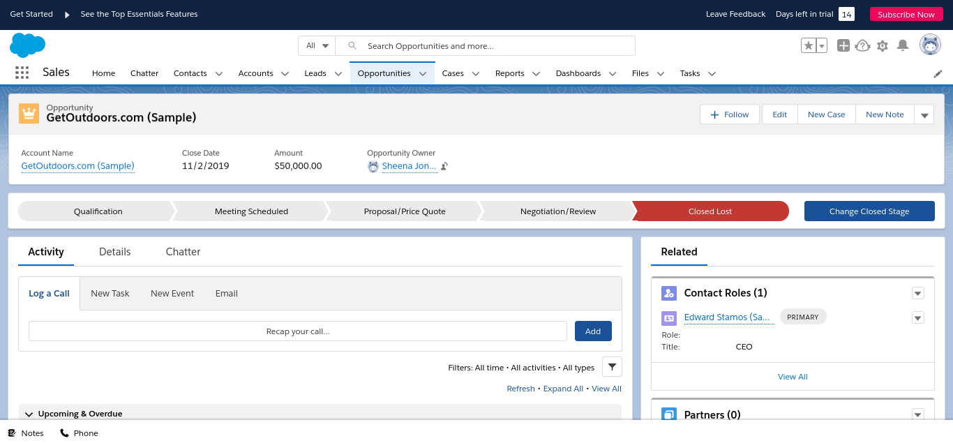 Screenshot of Salesforce opportunities tab